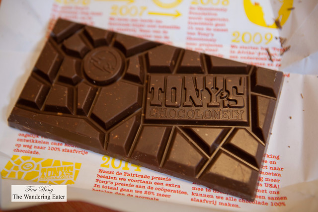 Tony's Chocolonely chocolate bar, unwrapped