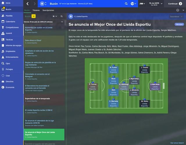 Football Manager - Lleida Esportiu Temporada 1: Mejor Once