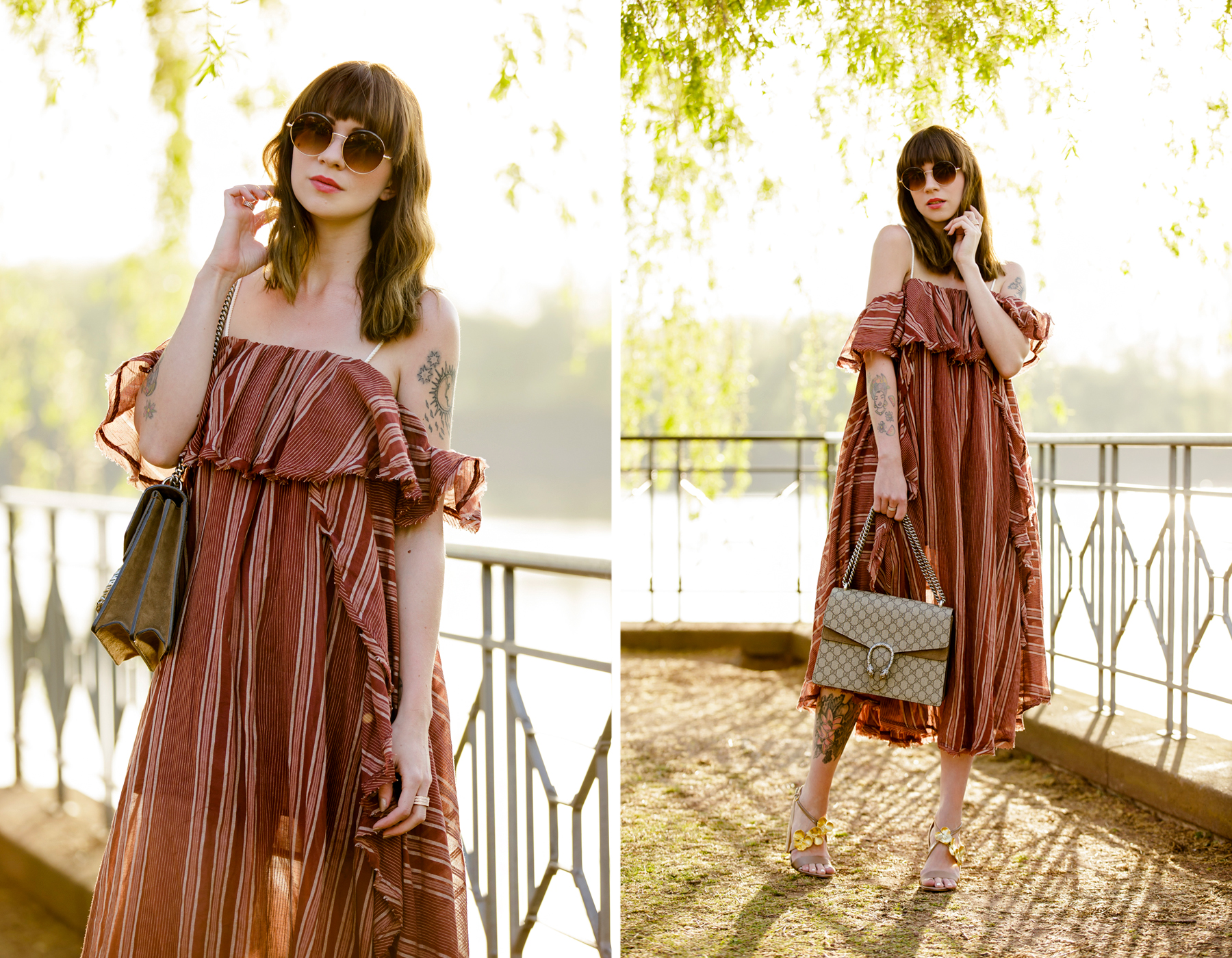 free people off shoulder hippie dress shopbop summer style zara gold flower heels round sunglasses boho vintage chic gucci dionysus fashionblogger cats & dogs modeblog ricarda schernus blogger düsseldorf 1