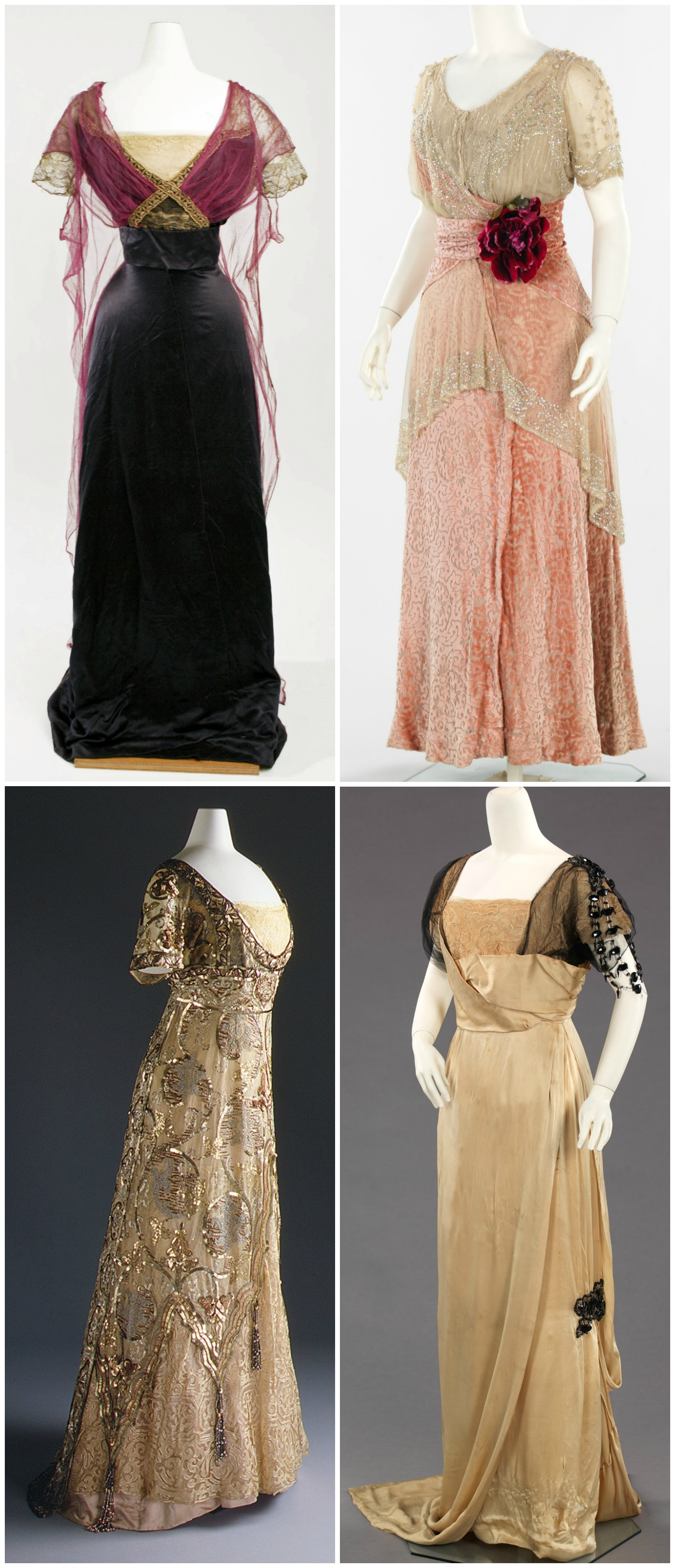 Titanic Dresses. clockwise from top left Callot Soeurs (French), Herbert Luey (American), Callot Soeurs, Paul Poiret (French). Credit metmuseum