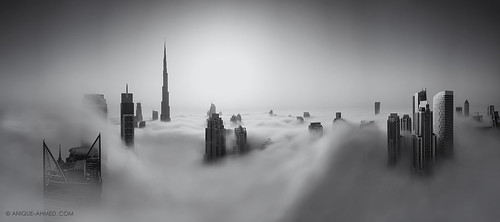 city longexposure morning panorama sun mist rooftop fog skyline architecture clouds skyscraper sunrise buildings downtown dubai cityscape towers smooth aerial structure emirates khalifa submerged iconic dxb tallest engulfed rooftopper burjkhalifa mydubai
