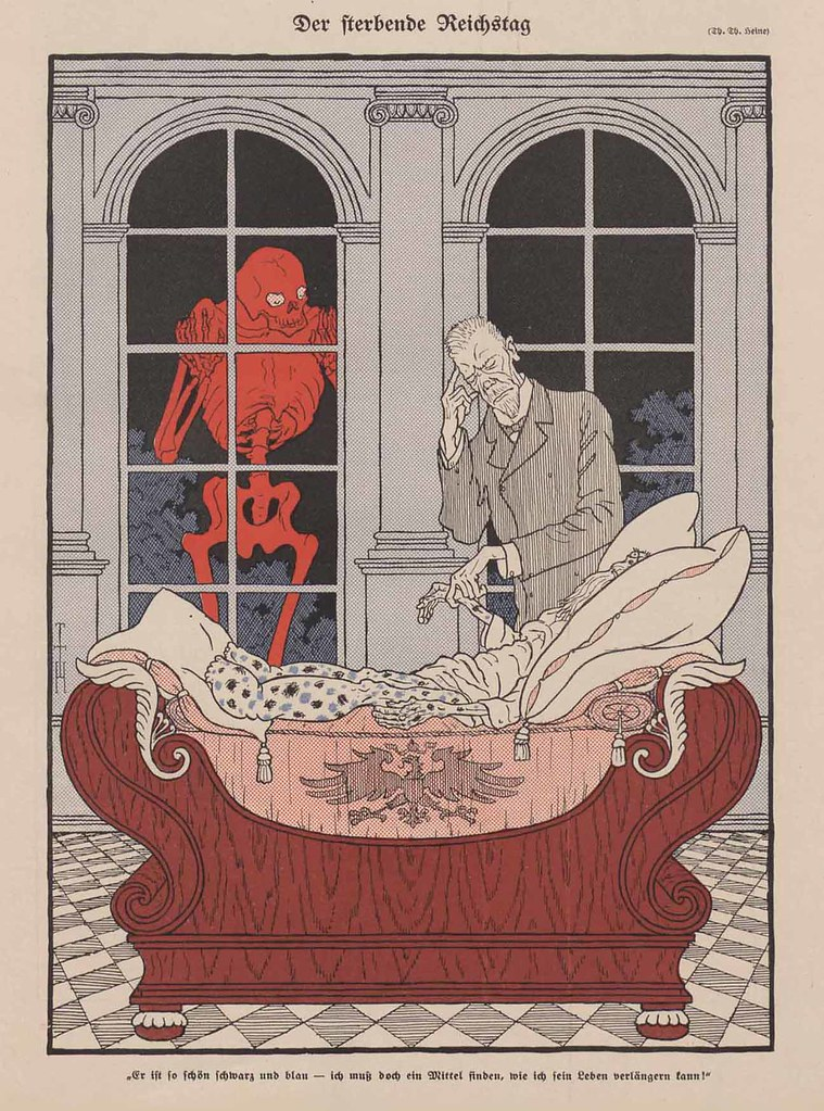 Thomas Theodor Heine - The Dying Parliament, 1911