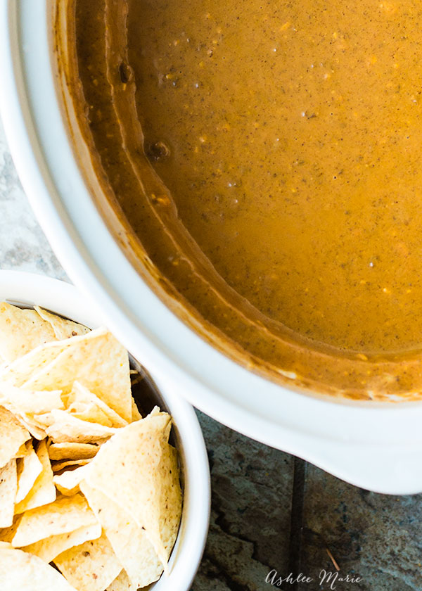 a beef spicy cheesy queso recipe made in the slowcooker