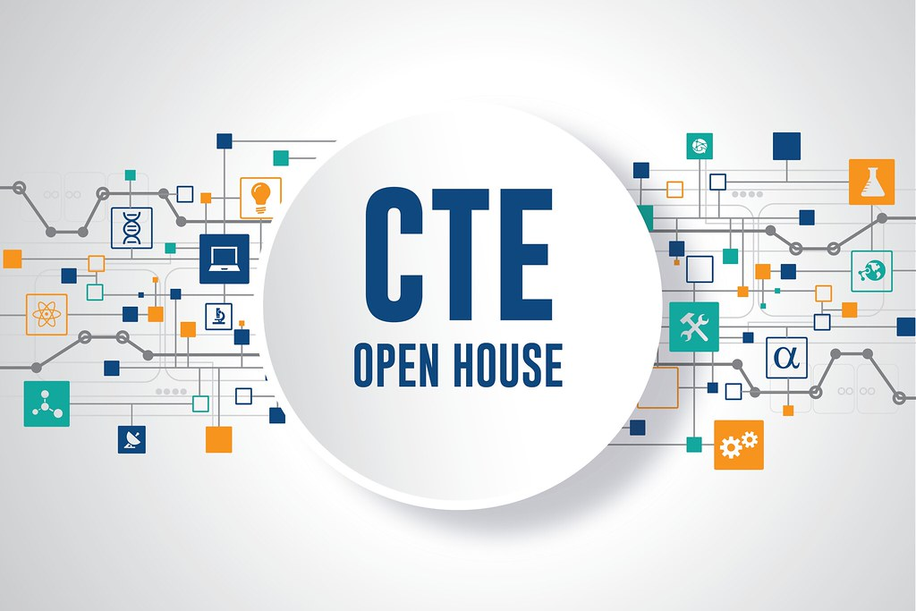 CTE icons and technology graphics with text 'CTE Open House'