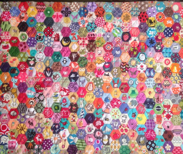 Half Inch Hexies - quilted and ready to be made into a pillow