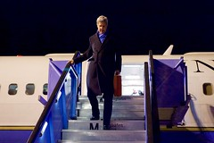 U.S. Secretary of State John Kerry disembarks from his airplane on February 10, 2016, after flying from Andrews Air Force Base in Camp Springs, Maryland, to Munich International Airport in Munich, Germany, so he can attend meetings focused on Syria and also address the Munich Security Conference. [State Department photo/ Public Domain]