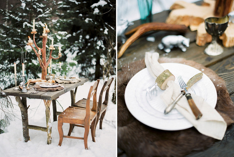 Narnia Inspired Winter Wedding,winter wedding table settting | Yaroslav and Jenny Photography | Read more on fabmood.com