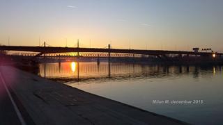 Sunset on Sava river, Belgrade, Serbia, December 2015.