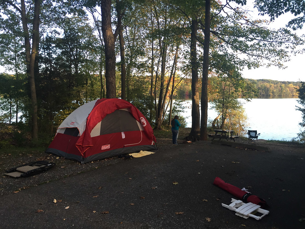 Lakefront campsite at Gifford Pinchot State Park in Pennsylvania