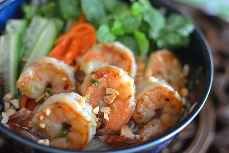 Bún Tôm Nướng Sả – Vietnamese Grilled Lemongrass Shrimp over