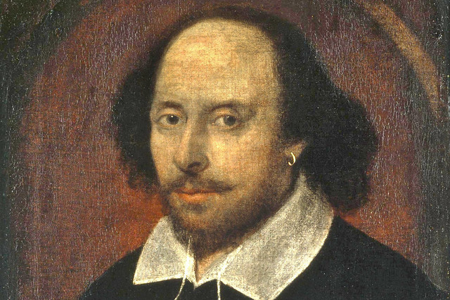 William Shakespeare, the Chandos Portrait, 1610. Image courtesy WikiCommons.National Portrait Gallery