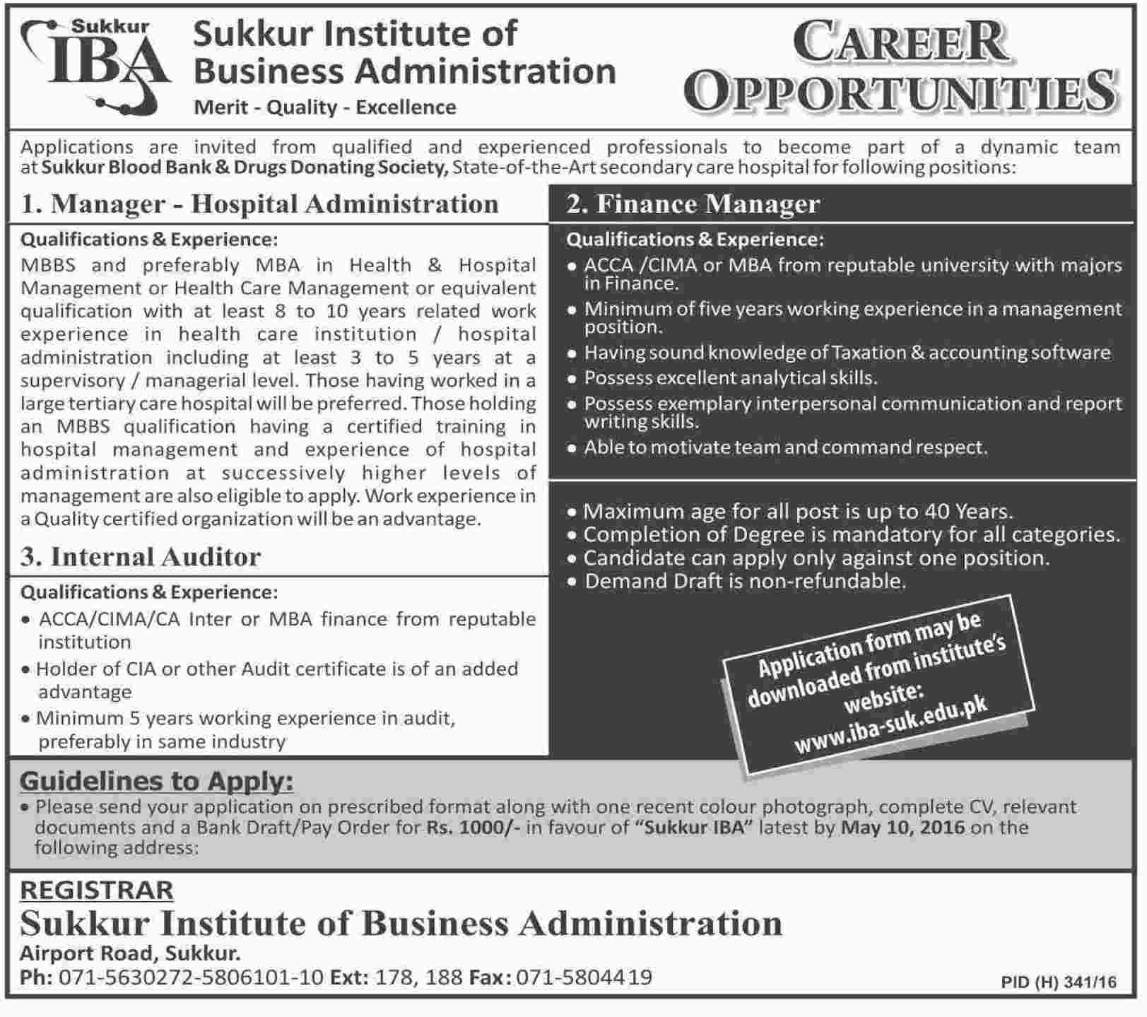 Sukkar Institute of Bussiness Administration Jobs 2016