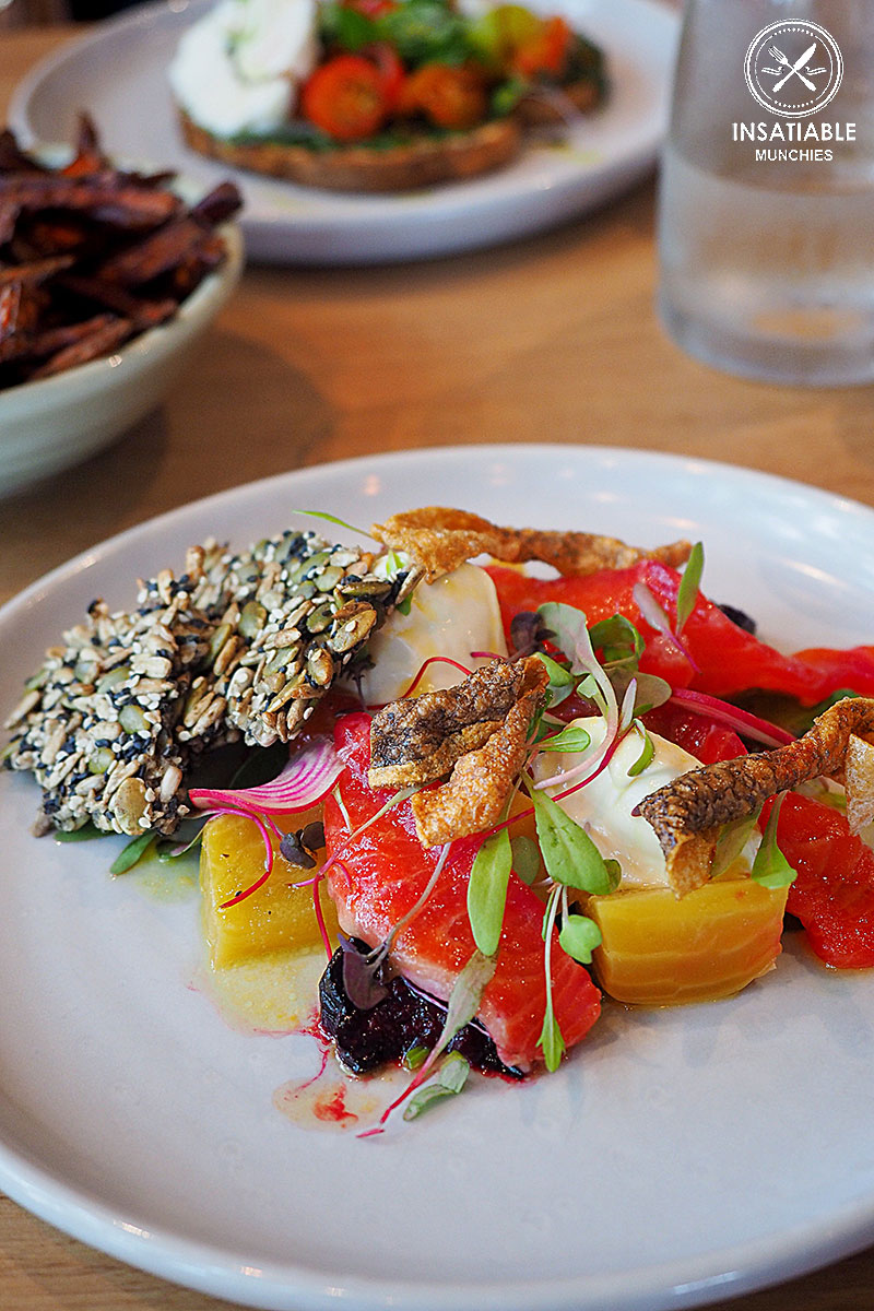 Raw ocean trout cured with Beetroot and orange, $22: COOH, Alexandria. Sydney Food Blog Review