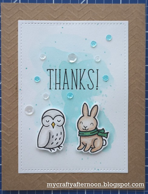Thank You Card Series Bunny and Owl