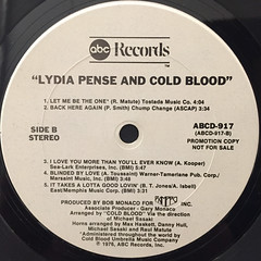 LYDIA PENSE & COLD BLOOD:LYDIA PENSE & COLD BLOOD(LABEL SIDE-B)