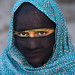 bandari woman with face covered at the panjshambe bazar thursday market, Hormozgan, Minab, Iran by Eric Lafforgue
