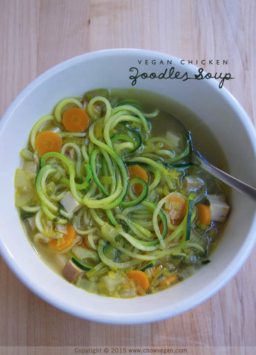 Vegan Chicken Zoodles Soup