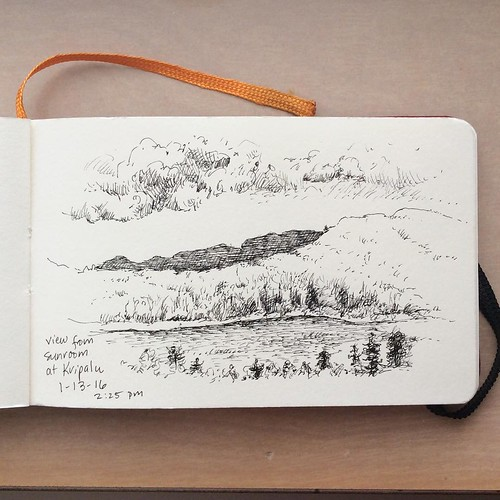 Finally, the snow squalls stopped so I could see the hills and lake and draw! #bonniesennott #drawing #sketch #kripalu #lakemahkeenac #berkshires