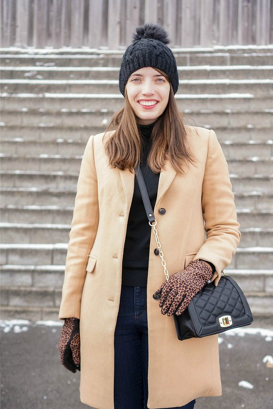 camel coat + black turtleneck + jeans + black ankle boots + black quilted Target purse; Style On Target blog