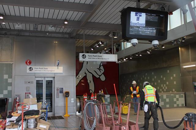 Capitol Hill Station west entrance under construction