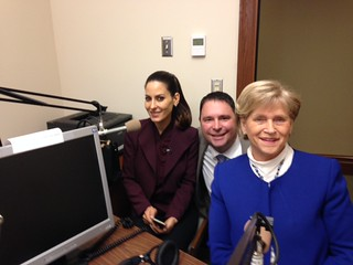 Rep. Dan Griffey (center) is interviewed on House Bills 2401 and 2402 with Kerri Kasem (left) and Rep. Linda Kochmar (right)
