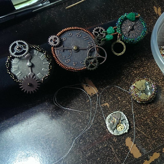 Still beading. Current piece will be turned into a pendant. Four clockwork/steampunk brooches, five to go...  #nofilter #beadwork #steampunk #clockwork #brooch #brooches #handmade #handbeaded #seedbeads #dantesspirit