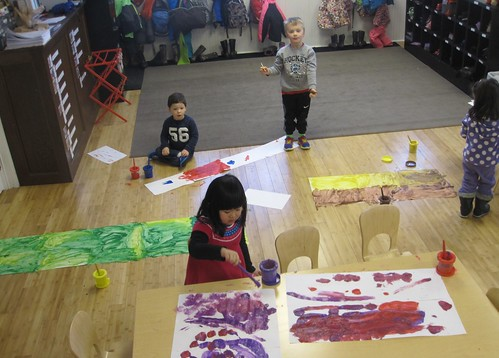 painting our colorful, multiple canvas masterpieces
