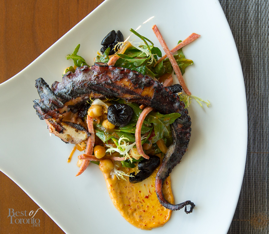 Grilled Octopus, which was served with green chickpea salad, Moroccan olives, sweet stewed peppers, sujuk, and Aleppo pepper aioli