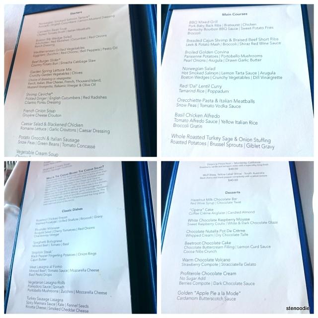 Dinner menu at Taste Dining Room