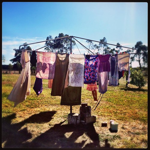 079/365 • goddamn it's a beautiful day! one load of wash down and a monkey on the clothesline - moving back to the boat late this afternoon • #079_2016 #Autumn2016 #housesitting #hillshoist #clothesline #5yo #feet #breezy #sunshine