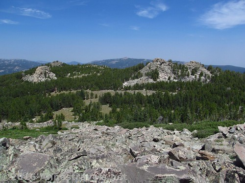 Looking back down at Stough Creek Pass from the slopes of Roaring Fork Mountain, Wind River Range, Wyoming