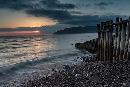 2015 coast england groyne may porlock somerset spring sunrise porlockweir unitedkingdom gb canon