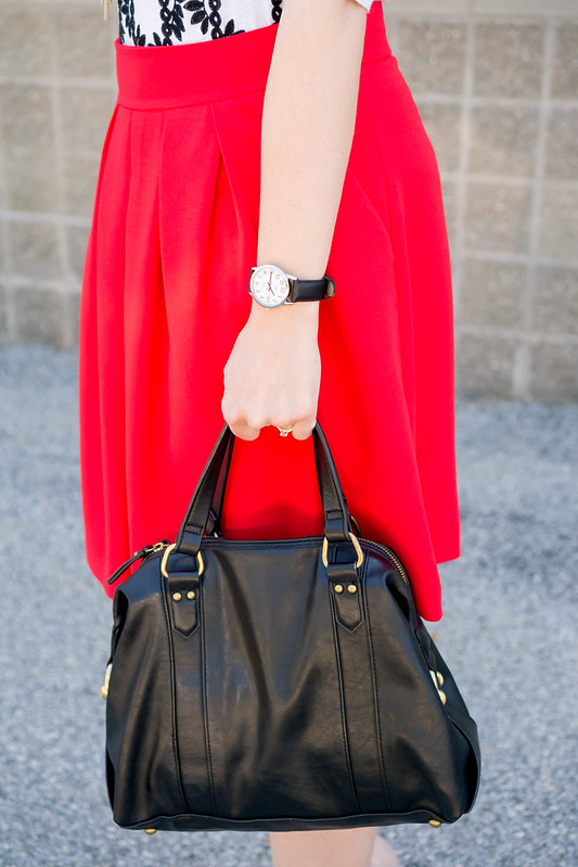 red orange skirt + J.Crew Factory embroidered tee + black Merona purse + Kendra Scott necklace