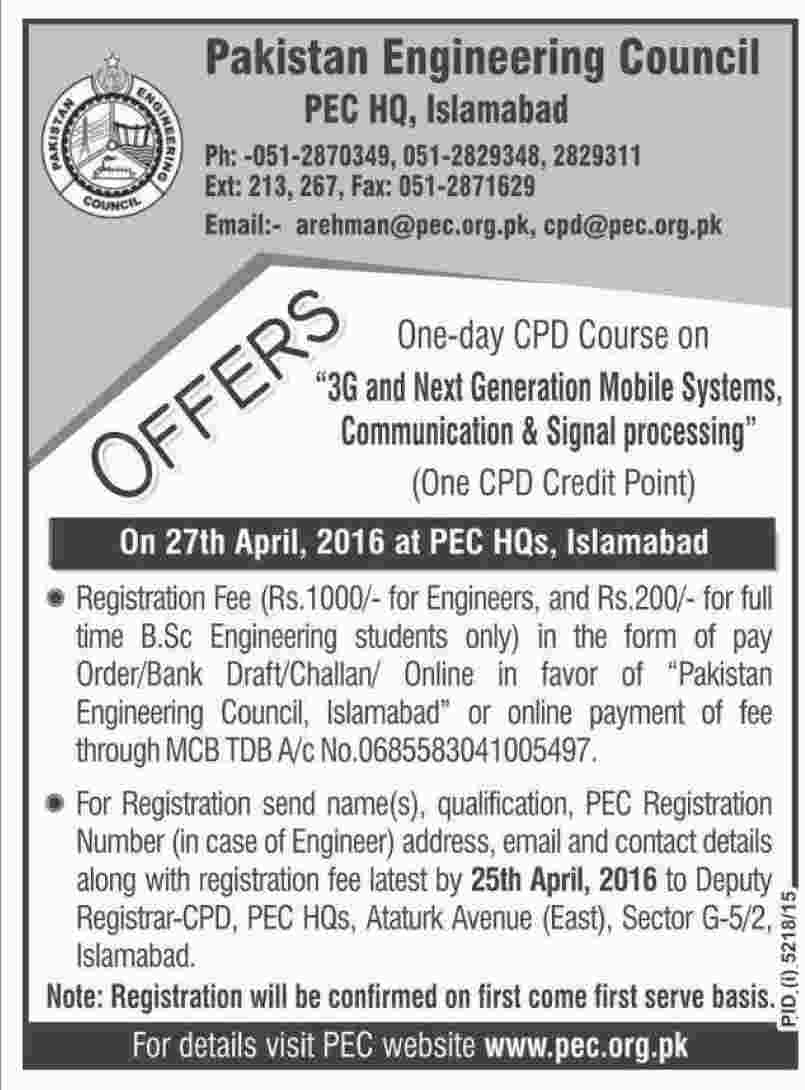 Pakistan Engineering Clouncil Courses