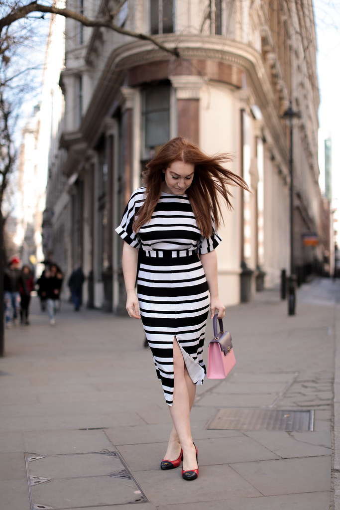 Asos black and white stripe work dress (1)