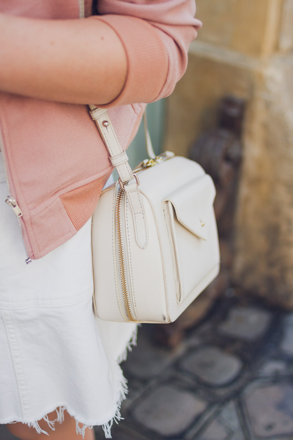 mini leather radley bag in cream