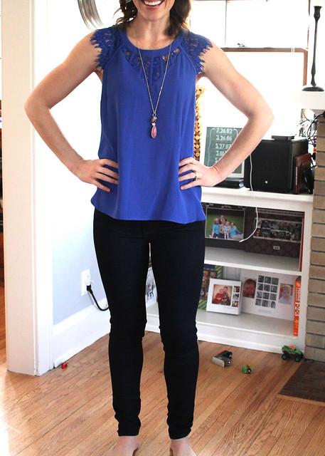 Brixon Ivy Jarred Lace Detail Cap-Sleeve Blouse $68