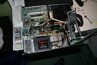 Upgraded PC. Another way to configure this would have had the SSD in the lower of the bays on the right, leaving the HDD in place.