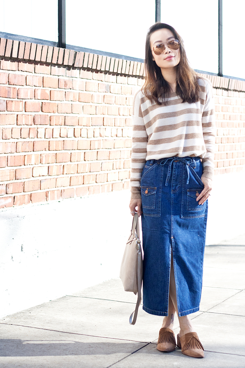 3b4f2c7651 05madewell-denim-skirt-stripes-sweater-suede-mules