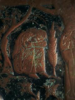 «Crucifixion», plat copte en cuivre, XIXème siècle.