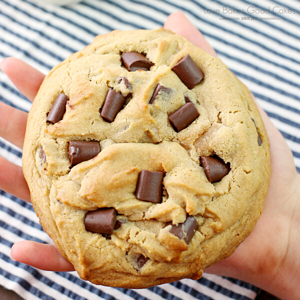 Giant Peanut Butter Cookie with Chocolate Chunks in hand.