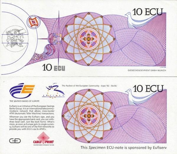 10 Ecu Európska únia 1992