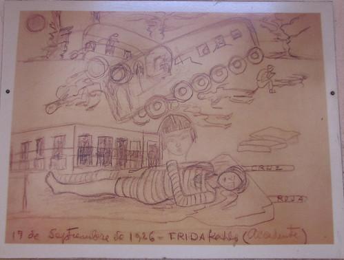 Merida: tableau de et par Frida Kahlo, qui a eu la polio à 6 ans et a été grièvement blessée dans un accident de bus à 19 ans. C'est pendant ces mois d'alitement qu'elle commence à peindre.