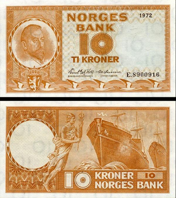 10 nórskych korún Nórsko 1971, P31f UNC