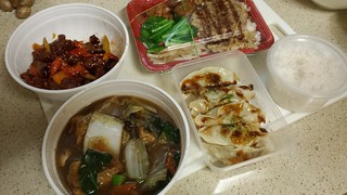 Spicy Crispy Chicken, Three Treasures Bendon, Rice, Pan-Fried Dumplings, Three Cups Tofu in Ginger Herb Sauce from Su Life