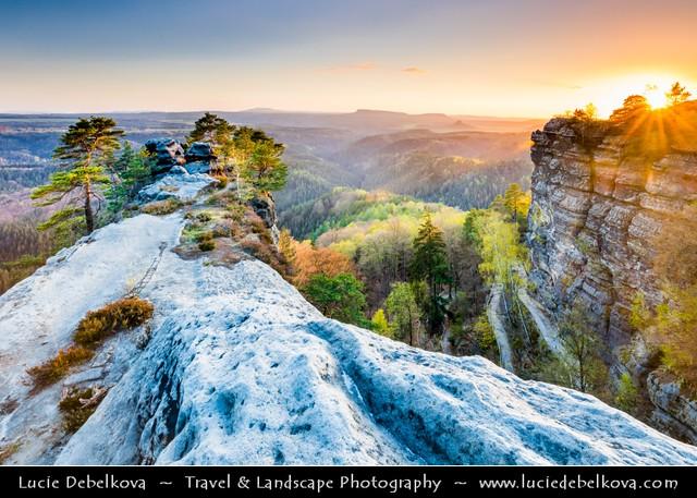 Czech Republic - Bohemian Switzerland National Park - České Švýcarsko - Top of Pravčická Brána at Sunset