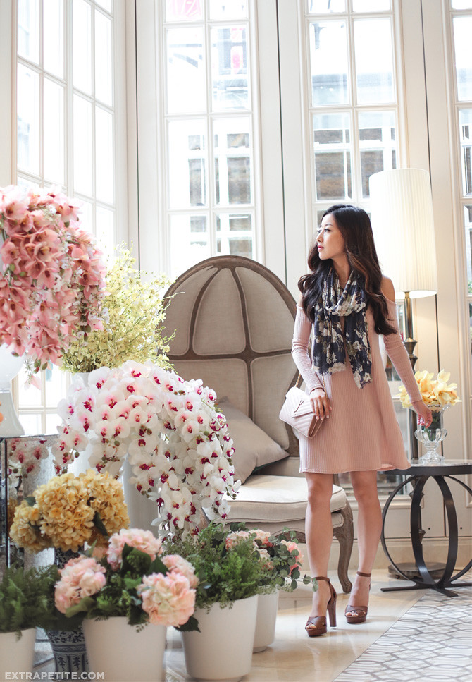 blush pink flared dress floral scarf classic spring outfit