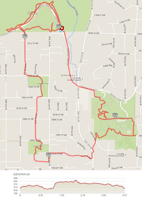 Today's awesome walk, 4.57 miles in 1:28, 9,821 steps, 244ft gain