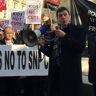 Ken with East Renfrewshire Councillors at the #SwinneyCuts rally outside Parliament