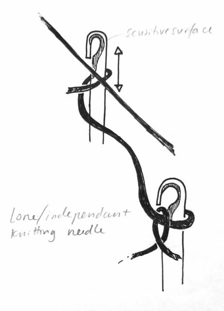 Lone knitting needle
